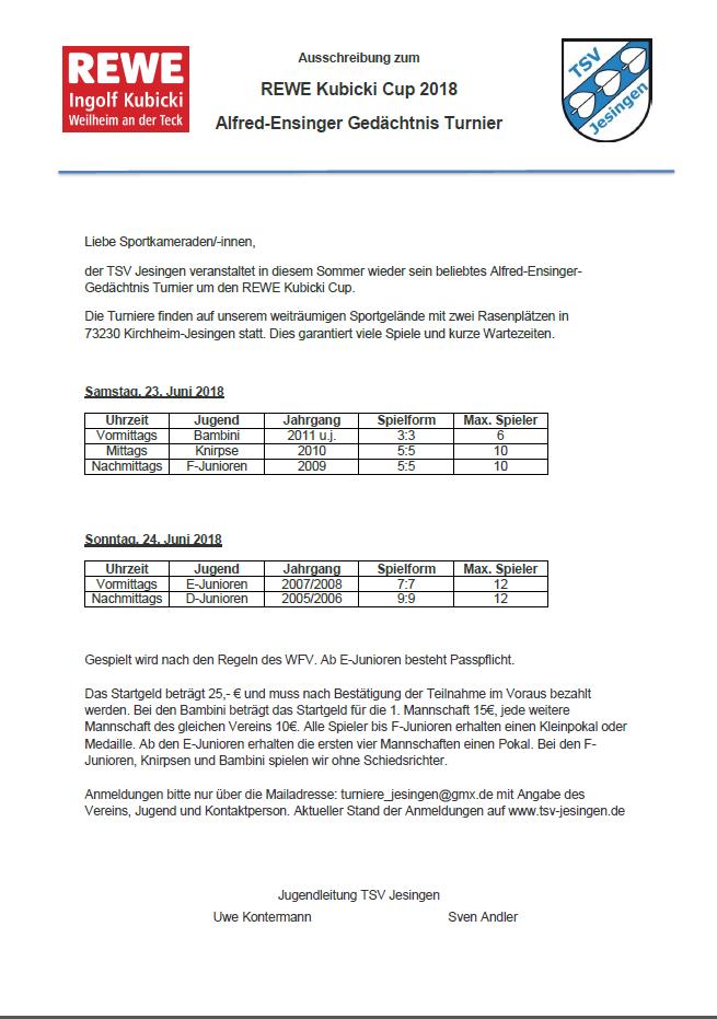 Tsv Jesingen E V 1899 Fussball Rewe Cup 2018